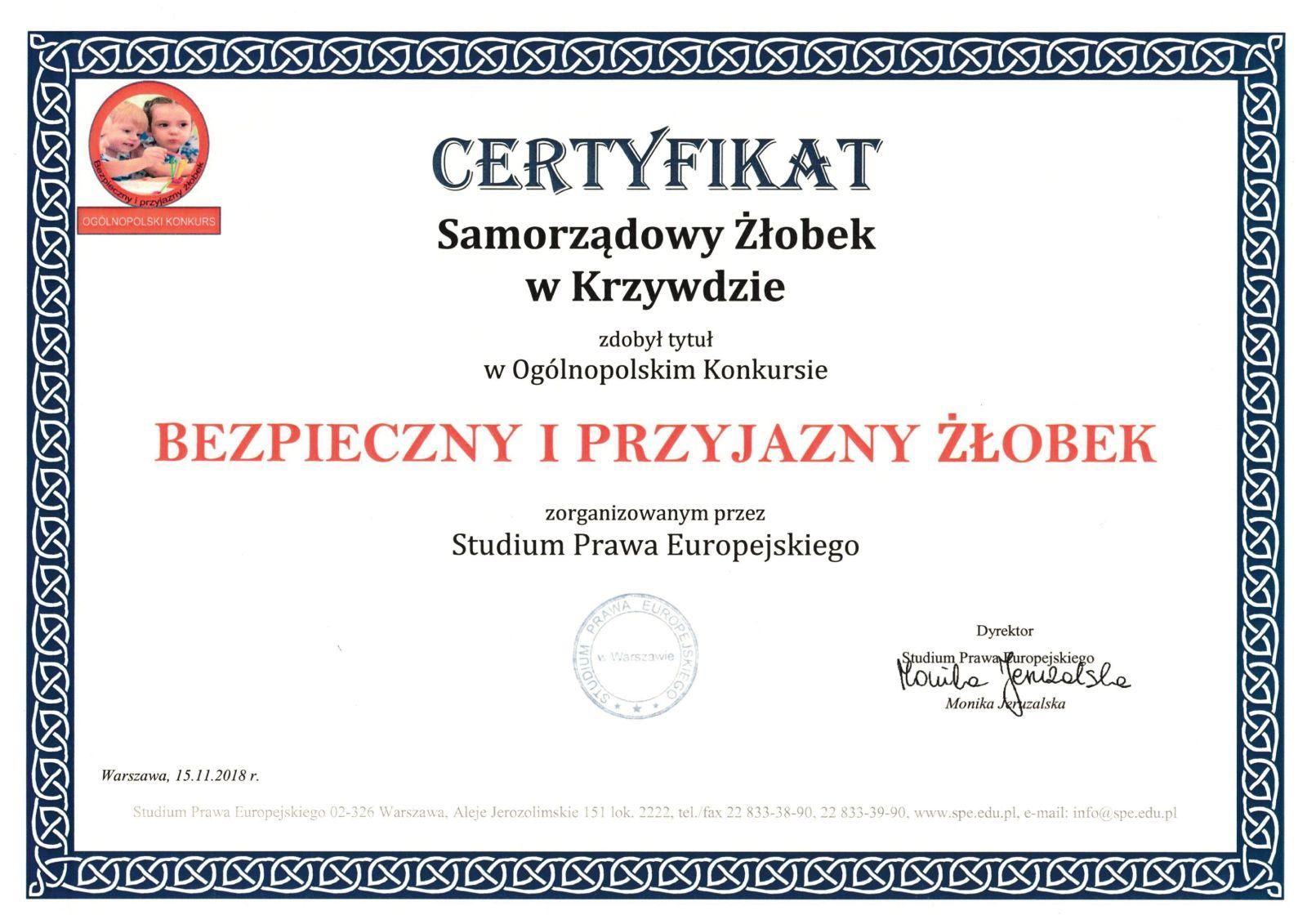 Certyfikat Bezpiecznego i Przyjaznego Żłobka